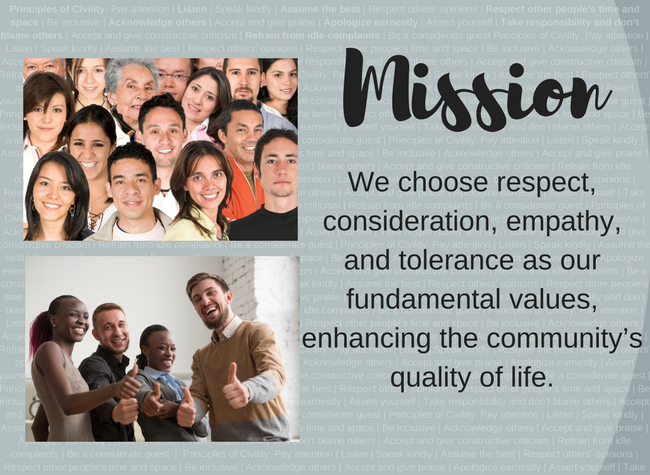 Group of diverse people with Choose Civility mission