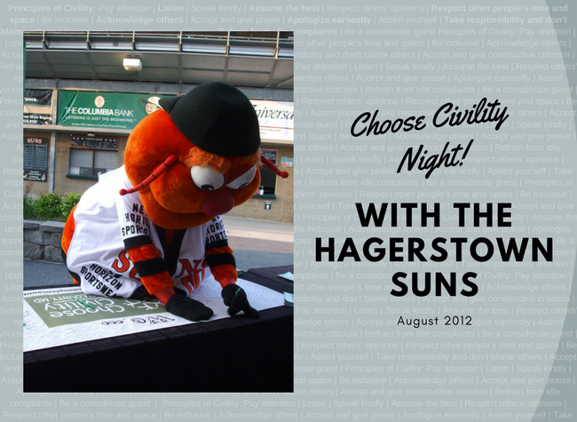 Woolie the Hagerstown Suns mascot - Choose Civility Night